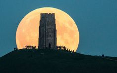 Super moon and lunar eclipse combine for 'blood moon' – pictures from around the world Glastonbury tor, Glastonbury, England. Combine Pictures, Pictures Of The Week, Cool Pictures, Cool Photos, Amazing Photos, Images Photos, Blood Moon Pictures, Images Cools, Glastonbury Tor