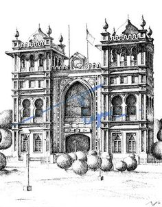 Jinnah Town Hall, Lahore. Pen and ink sketch on pastel sheet, drawn with a 0.1mm rapido.   By: Zehra Naqavi (Architect/artist)  Year: 1997