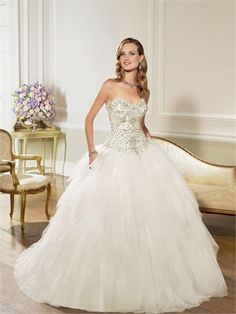 2015 White Ball Gown Sweetheart Beading Organza Wedding Dresses Bridal Gowns AWD630055