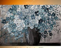 "XL Oil Blue Cherry Blossom painting Abstract Original Modern 36"" palette knife impasto oil painting by Nicolette Vaughan Horner"