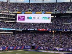 On Sunday, October 25th, more than 80,000 fans attending the Giants game were encouraged to speak out about domestic violence and take a stand to  end abuse. It was extraordinary to see so many people joining  the conversation on social media using #NOMORE.     Check out what people had to say on Twitter: @MSPNY   Pictured: Giants vs. Cowboys Game