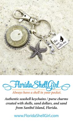 Authentic seashell keychains / purse charms  created with shells, sand dollars, and sand  from Sanibel Island, Florida.
