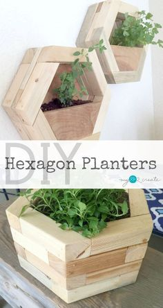 Build your own amazing DIY Hexagon Planters out of your own scrap wood pile! Free Plans and Tutorial at MyLove2Create. #woodworkingplans