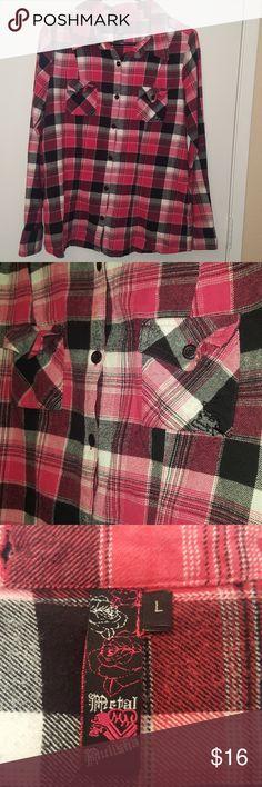 Metal Mulisha Pink & Black Flannel Metal Mulisha pink, black, white flannel button down. Buttons on cuffs unbutton to roll up sleeves. Metal Mulisha Tops Button Down Shirts