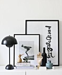 Flower pot lamp from Tradition, Bird from Architectmade and wooden hand from Hay. Via La maison dAnna G. Room Inspiration, Interior Inspiration, Jeanne En Provence, Interior Styling, Interior Decorating, Deco Studio, Kid Bathroom Decor, Office Wall Decor, Wooden Hand