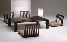Japanese dining table, cool! At least your kids won't fall off the chairs! Lol