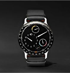 Shop luxury men watches RESSENCE Type 3 Mechanical 44mm Titanium And Leather Watch