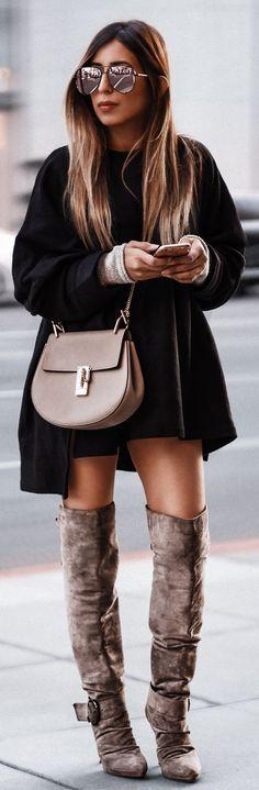 44b4fc8e0d7 #winter #outfits / Black Coat / Brown Leather Shoulder Bag / Brown Velvet  OTK