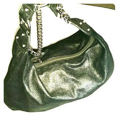 AUTHENTIC JUICY COUTURE BLACK METALLIC HOBO BAG JUICY COUTURE HOBO MEDIUM WITH SILVER HARDWARE I LOVE THIS BAG HAS SMALL WALLET INSIDE Juicy Couture Bags Hobos