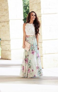 New Ideas Wedding Shoes Summer Floral Maxi Maxi Skirt Style, Maxi Skirt Outfits, Maxi Skirt Formal, Maxi Skirt Outfit Summer, Trendy Dresses, Fashion Dresses, Floral Fashion, The Dress, Dress Lace