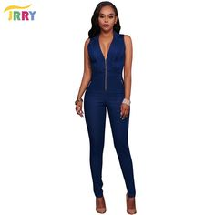 a02265c511d JRRY Casual Long Turn Down Collar Zippers Women Denim Jumpsuit