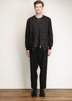 Marni Collarless Bomber Jacket With Pockets (Carbone)