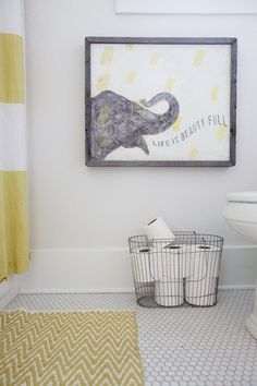 Cute for kids. Bradford Avenue Project: Bathroom, Hex Tile, West Elm Rug, West Elm Shower Curtain