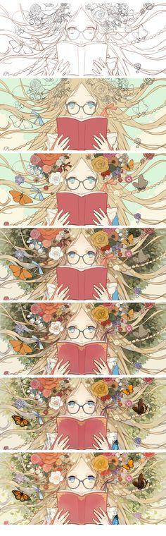 Nice scroll through.【绘画教程】花朵眼镜萌娘的画法和上色技巧