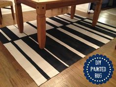 Here's an easy tutorial for how to paint a rug that can survive the wear and tear of a family or pet.