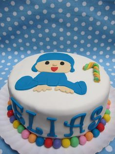 Tarta, fondant, pocoyo,baby Fondant Cupcakes, Cupcake Cakes, Superhero Cake, Birthdays, Birthday Cake, Cookies, Party, Desserts, Food