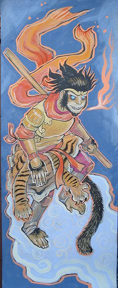 Gouache painting of the Monkey King! Journey to the West ( 西遊記 ) is a classic Chinese story depicted in several books, TV shows, movies, and has a wide-reaching cultural influence in Asia. The main character 孫悟空 is often called 'Magic Monkey' or 'Monkey King' in Western translations. Th