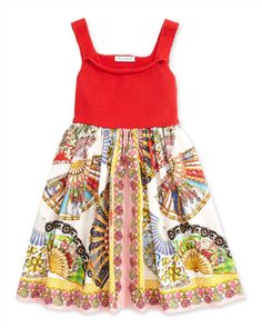 Fan-Print A-Line Dress, Red/Multicolor, Sizes 8-12 by Dolce & Gabbana at Neiman Marcus.