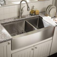 "Schon 34"" x 18.5"" Double Bowl Farmhouse Kitchen Sink | Wayfair"