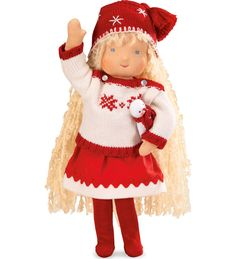 Kathe Kruse® Handcrafted Holiday Waldorf-Style Doll. the classic Waldorf-style doll has cascading blonde mohair curls, soft cotton skin and warm wool stuffing.