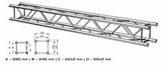 """ALUSTAGE QUAD 290 TRUSS also available in 2,3,and 4 m lengths.System 290A is made of main tube 50x2mm and braces 20x2mm. It has got SZ02.10 connection.Thanks to their spatial design, the aluminium trusses look attractive and are very strong. They can be arranged in different ways and are successfully used as elements of stage roofs, trade fair structures, exposition structures, big screen structures, LED display screen and projection screen support frames, lighting """"gates"""" and sound """"gates""""… Led Display Screen, Trade Fair, Projection Screen, Stage Decorations, Quad, Worship, Strong, Design"""