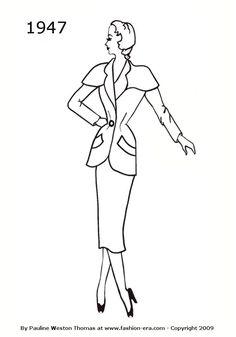 Suit - 1947 fashion history silhouette