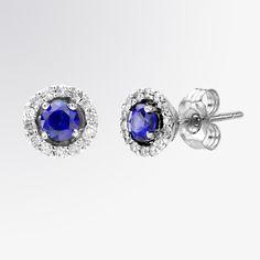 Classic blue sapphire and diamond stud earrings