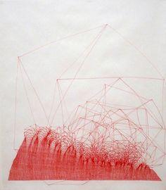 "Dibujines.- unproductive: Javier Cruz ""Catalizar"" Drawing 12 (2009) - Ink on paper - 70 x 50 cm"