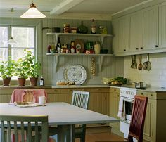 Coolest Kitchen For Cute Kitchen Ideas In Home Kitchens Interior Design Ideas Farm Kitchen Ideas, Cute Kitchen, Country Kitchen, Green Kitchen, Country Sink, Kitchen Plants, Awesome Kitchen, Country Style, Kitchen Decor