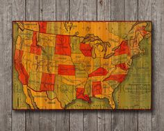 1883 United states of america vintage map Print Poster Digital file Instant jpg Download Perfect for framing, wall decor, pubs, bars art