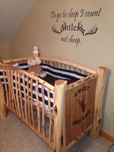 Country Nursery! Home made Crib by my father in law. Love this so much.