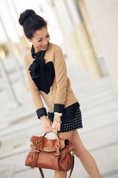J.Crew sweater and shorts, tie-blouse, Mulberry bag