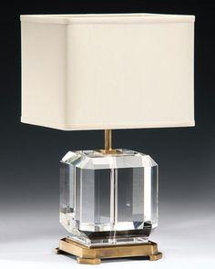 Solid crystal lamp with antique brass trim. Lighting We Love at Design Connection, Inc.   Kansas City Interior Design http://www.DesignConnectionInc.com