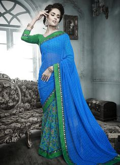 Online saree shopping from an exclusive collection of designer sarees. Buy this unique multi colour designer saree for festival and party.