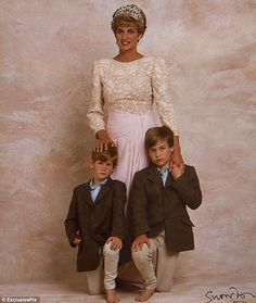 Impromtu photo of Princess Di and her boys.  The boys interupted a photo shoot  while checking on their mother and were stuck taking a pic.  They're all barefoot and mom has a firm hand on Prince Harry. Prince William and Prince Harry don't look very happy about it. Released in 2012.