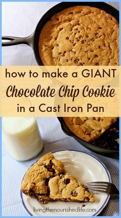 """Bigger isn't always better, but there's something mischievously fun about making a giant chocolate chip cookie. And when I realized I could bake a giant cookie recipe in my beloved cast iron pan… well, I may never make """"normal"""" cookies again. Cast Iron Skillet Cooking, Iron Skillet Recipes, Cast Iron Recipes, Recipe For Skillet Cookies, Cast Iron Skillet Chocolate Chip Cookie Recipe, Giant Chocolate Chip Cookies, Dessert Crepes, Paleo Dessert, Delicious Desserts"""