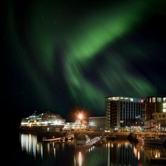 Visit Norway.    Ok, you are ready to see the Northern Lights (Photo: www.hurtigruten.com/season/winter), but where to stay in Northern Norway? No problem, find your accommodation at http://booking.nordnorge.com/en. — in Svolvær, Nordland.