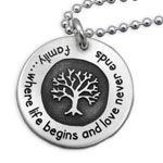 Family Tree Necklace with Quote Family Tree Necklace With Quote : Hand Stamped Jewelry from Heart On Your Wrist, Unique Mommy Jewelry