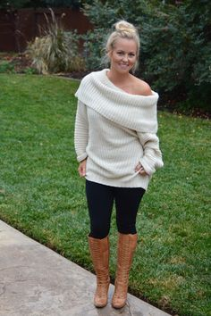 A Perfect Off the Shoulder Knit Sweater