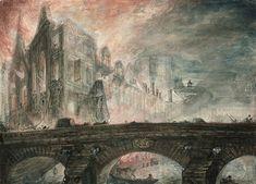 Gabriel de Saint-Aubin (Paris, 1724 - 1780), L'Incendie de l'Hôtel-Dieu en 1772. Plume et encre noire sur trait de crayon, pastel, aquarelle et rehauts de gouache. Signé des initiales et daté 'G. d. S.A. 1772' à gauche sur le pont . nnoté 'St Aubin' en haut à gauche.