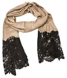 scarf with lace ends...I absolutely adore this scarf, cut the fringe off and sew some lace on