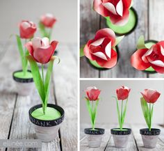 DIY Paper Red Tulips