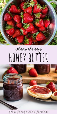 Strawberry Honey Butter: Homemade Preserves This strawberry honey butter is an easy and delicious recipe for homemade preserves. Fresh strawberries and honey make it so much better than store bought jam! Strawberry Butter, Strawberry Preserves, Strawberry Jelly Recipe Canning, Strawberry Jam Recipes, Fruit Butter Recipe, Strawberry Jam Recipe Without Pectin, Sugar Free Strawberry Jam, Strawberry Freezer Jam, Homemade Strawberry Jam