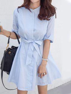 Self-Tie Vertical Striped Shirt Dress - Blue