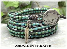 SOUTHWESTERN JEWELRY/ NATIVE AMERICAN STYLE SEED BEAD LEATHER WRAP BRACELET/ BEADED WRAP BRACELET/ LEATHER BRACELET/ MENS WRAP BRACELET. THIS SEED BEAD LEATHER WRAP BRACELET IS MADE TO WRAP AROUND YOUR WRIST 5 TIMES. YOU HAVE YOUR CHOICE OF MANY BUTTONS. IF THERES AN ITEM WITH
