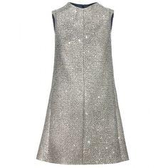 Saint Laurent Sequin-Embellished Tweed Dress ($2,180) ❤ liked on Polyvore featuring dresses, vestidos, vestiti, short dresses, gold, short white cocktail dress, white sequin dress, short sequin cocktail dresses and yves saint laurent