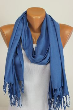 Pashmina, Blue, Solid, Pastel, Scarf, Thread Fringe, Tasselled, Gift Ideas For Her, Women Fashion Accessories, Best Selling Items, Oversized
