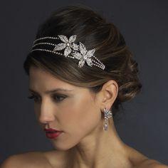 Dazzling Double Flower Rhinestone Side Accent Wedding Headband