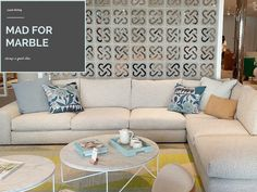 Living room styling on Style Curator l Add marble l Marble coffee table #stylecurator