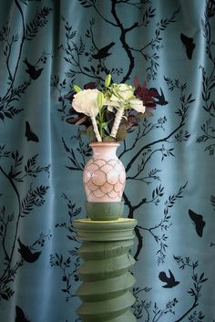 Timorous Beasties Fabric - Birdbranch Stripe Velvet Black on Sea Blue 88 GBP Timorous Beasties, Bird On Branch, Coordinating Fabrics, Cotton Velvet, Drapery, Amazing Art, Fabric Design, Vines, Glass Vase